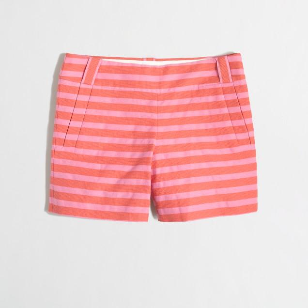 Factory textured-stripe short