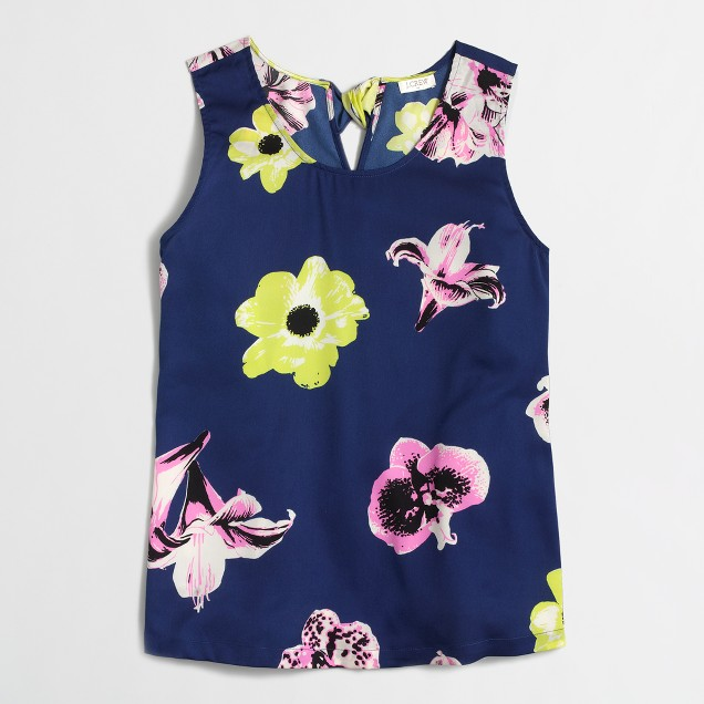 Factory printed bow-back top