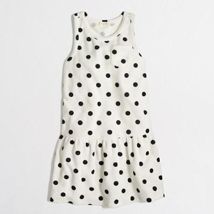 Factory girls' terry pocket dress in polka dot