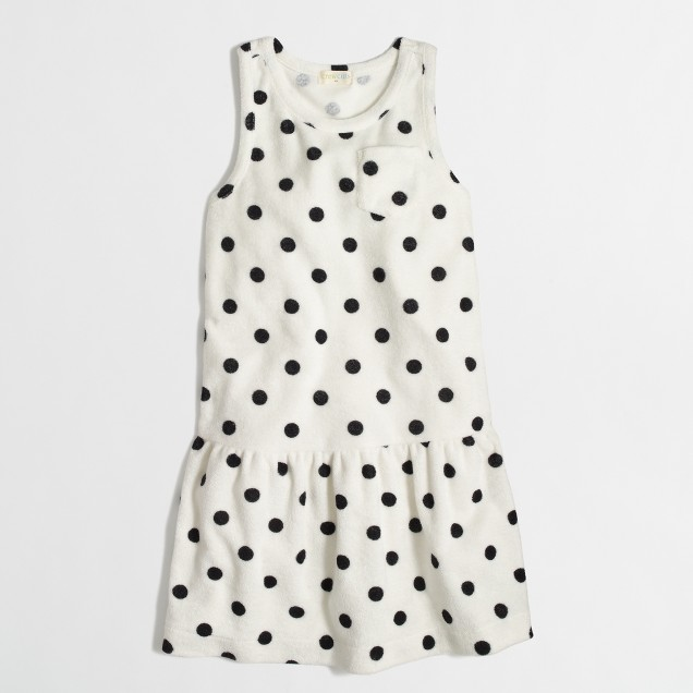 Factory girls' terry pocket dress in polka dot