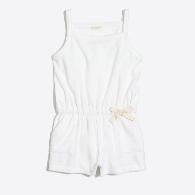 Girls' terry drawstring romper