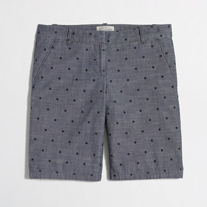 "Factory 10"" bermuda short in dotted chambray"