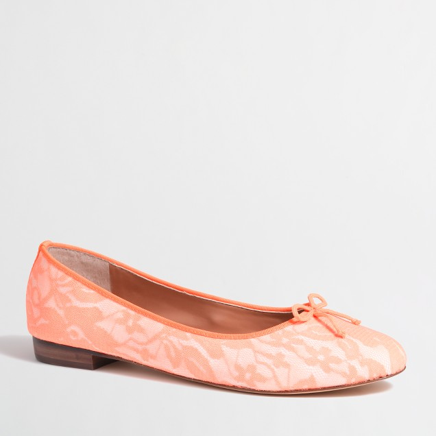Factory uptown ballet flats in neon lace