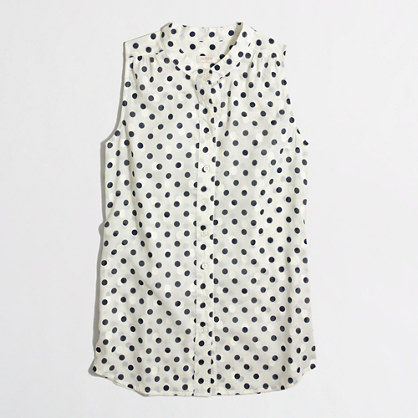 Factory sleeveless jacquard-dot top