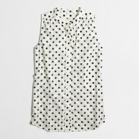 Factory sleeveless jacquard-dot top