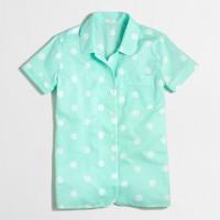 Short-sleeve pajama shirt in dot