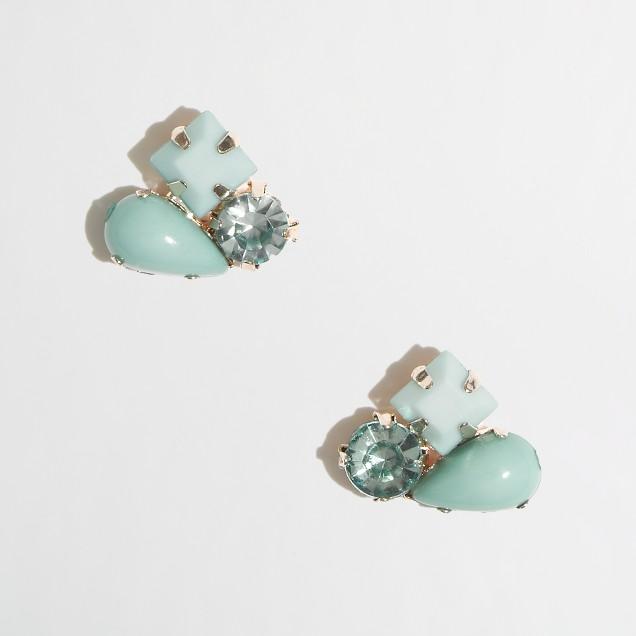 Factory stone cluster stud earrings