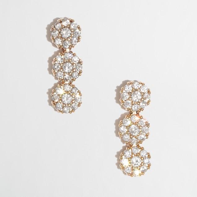 Factory crystal drop stud earrings