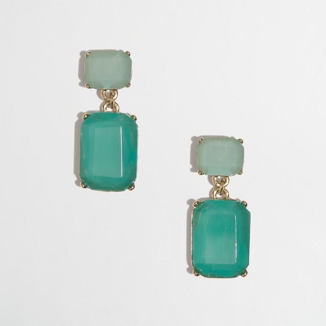 Factory jeweled drop pendant earrings