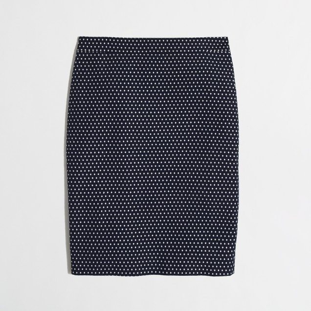 Factory pencil skirt in jacquard dot
