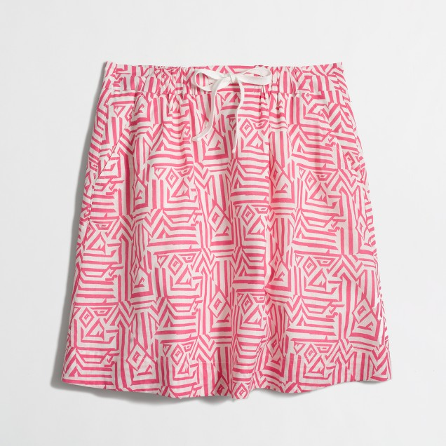 Factory drawstring skirt in jacquard print
