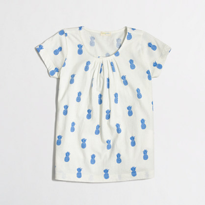Factory girls' pleated tee in pineapple print