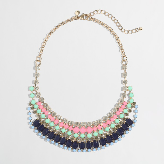 Factory stripe bib necklace