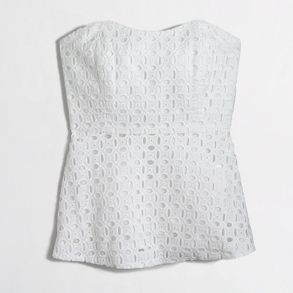 Factory strapless peplum top in eyelet
