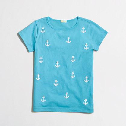Factory girls' tiny sequin anchors keepsake tee
