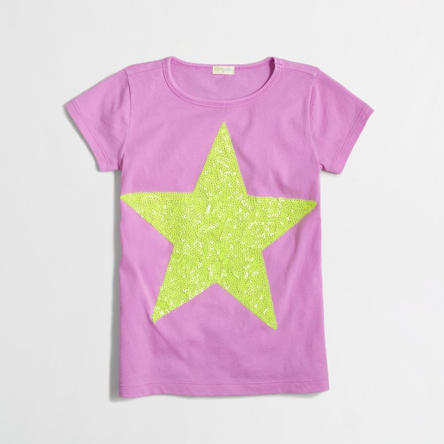 Girls' big sequin star keepsake T-shirt