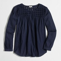 Factory embroidered peasant top