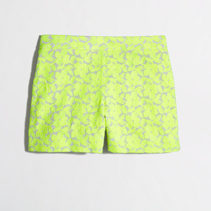 Factory embroidered neon floral short