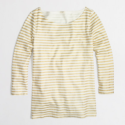 Factory boatneck top in metallic stripe