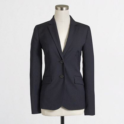 Petite suiting blazer in pinstripe wool