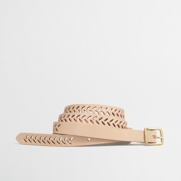 Factory perforated skinny belt
