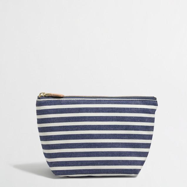 Factory denim stripe pouch