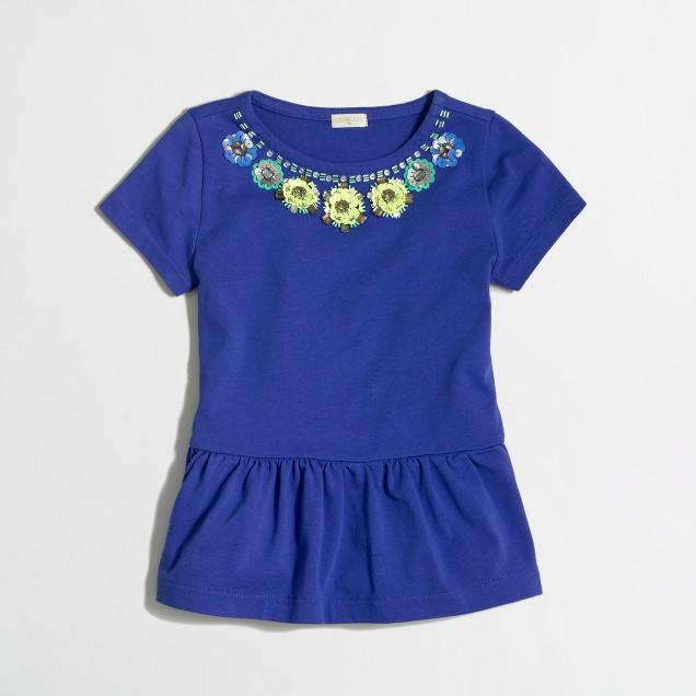 Factory girls' peplum necklace tee