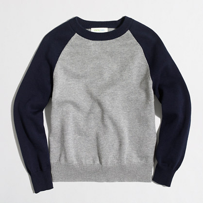 Boys' contrast baseball sweater