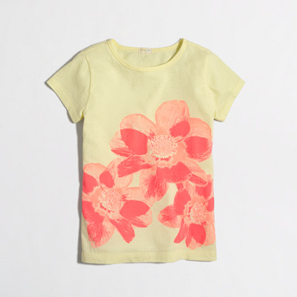 Girls' photographic flower keepsake t-SHIRT