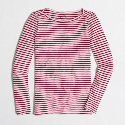 Long-sleeve artist boatneck T-shirt in stripe