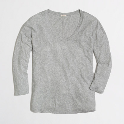 Factory three-quarter sleeve draped swing tee
