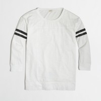 Factory three-quarter sleeve varsity-stripe tee