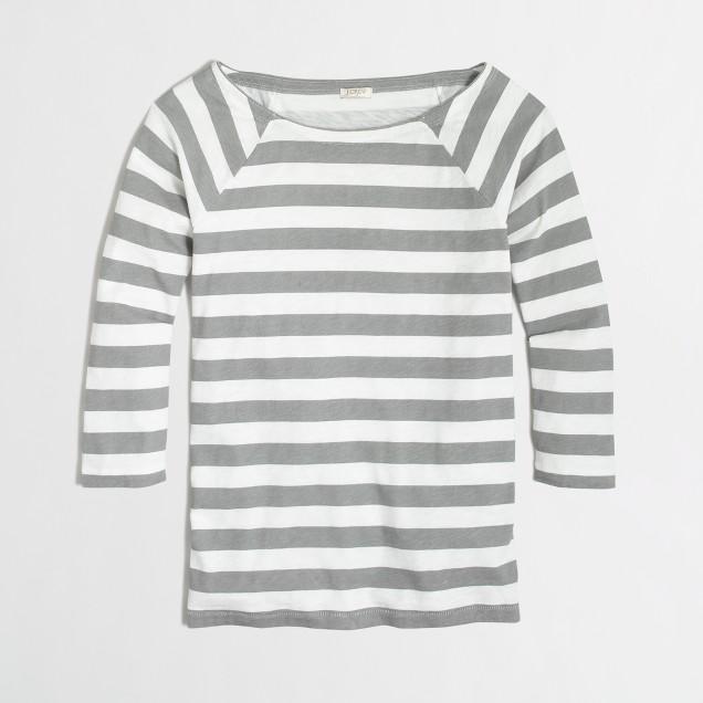 Factory three-quarter sleeve side-zip tee in stripe