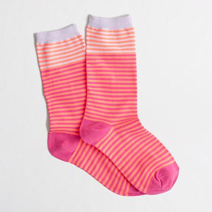 Factory contrast-cuff stripe trouser socks