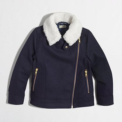 Factory girls' wool zipper jacket