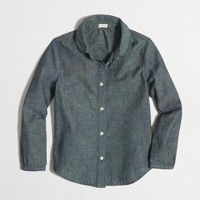 Factory girls' Peter Pan collar shirt in chambray