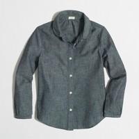 Factory girls' Peter Pan collar shirt in chambray