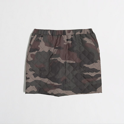 Factory girls' quilted camo skirt