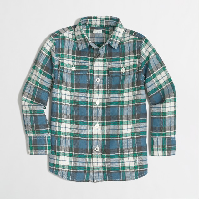 Factory boys' lightweight flannel workshirt