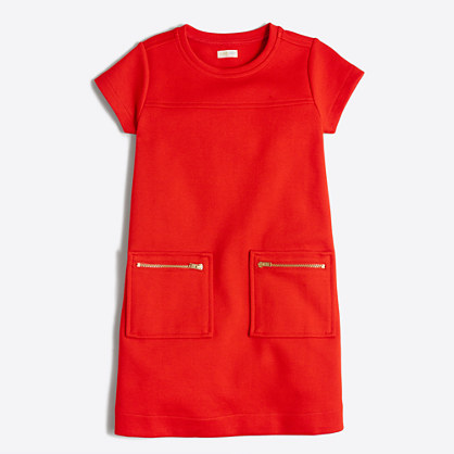 Girls' short-sleeve zip-pocket dress