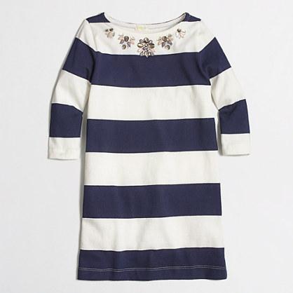 Factory girls' navy-stripe necklace dress