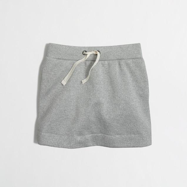 Girls' sparkle drawstring terry skirt