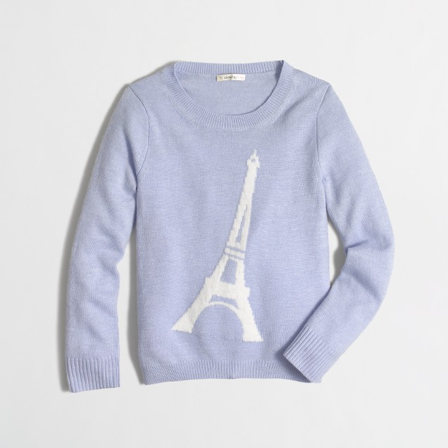 Girls' Eiffel Tower intarsia sweater