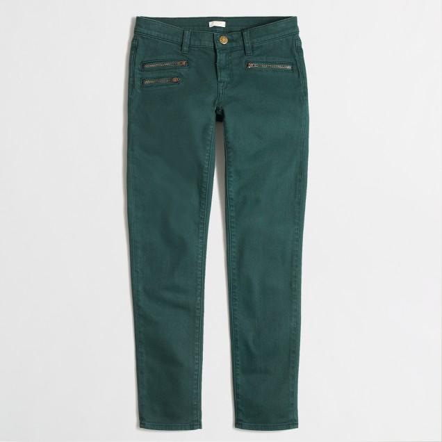 Factory skinny zipper jean