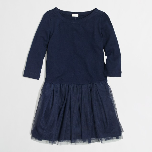Factory girls' boatneck tulle dress
