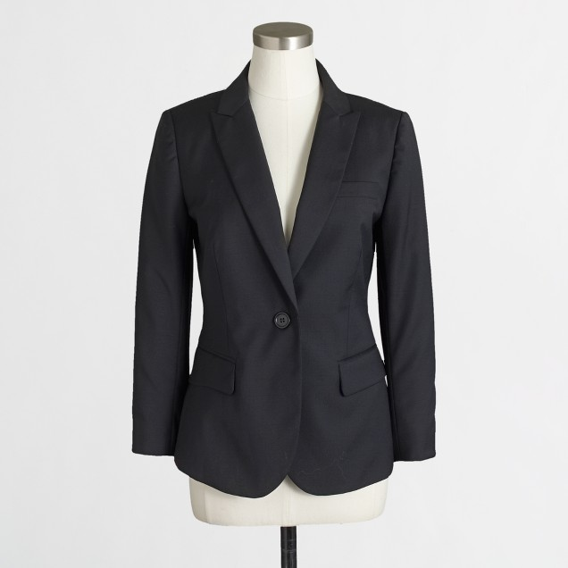 Cropped suiting blazer in wool