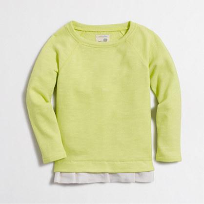 Girls' ruffle-hem sweatshirt