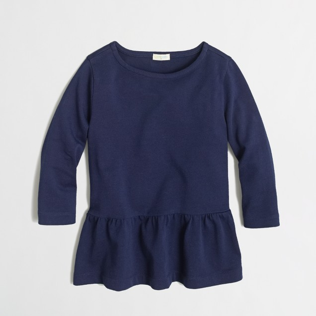 Factory girls' long-sleeve peplum tee