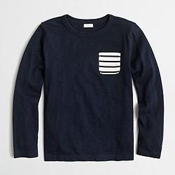 Boys' long-sleeve contrast-pocket T-shirt