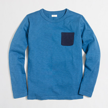 Boys' long-sleeve contrast-pocket T-shirt